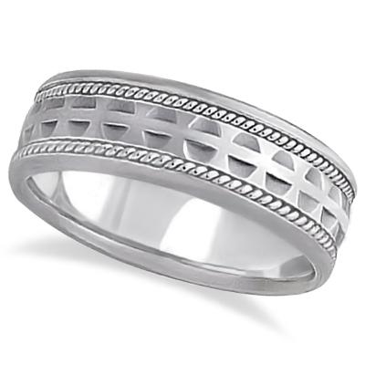 Modern Handmade Wedding Ring For Men 14k White Gold (7mm)