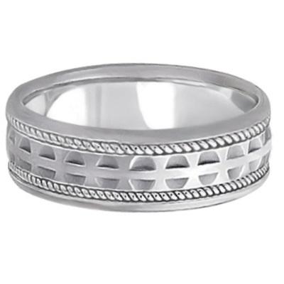 Modern Handmade Wedding Ring For Men 18k White Gold (7mm)