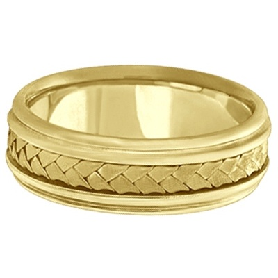 Men's Contemporary Braided Handmade Wedding Ring 14k Yellow Gold (7mm)