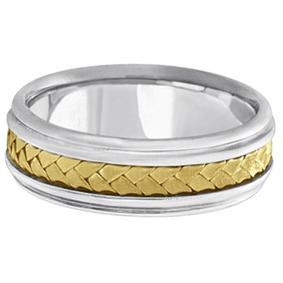 Men's Contemporary Rope Handmade Wedding Band 18k Two-Tone Gold (7mm)