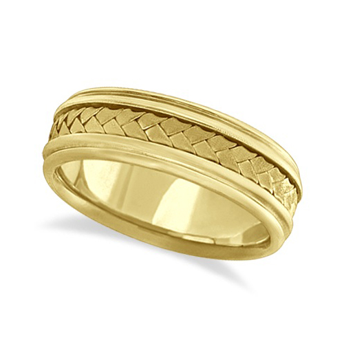 Men's Contemporary Handmade Braided Wedding Band 18k Yellow Gold (7mm)