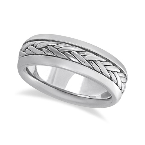 Men's Wide Handwoven Wedding Band 18k White Gold (6mm)
