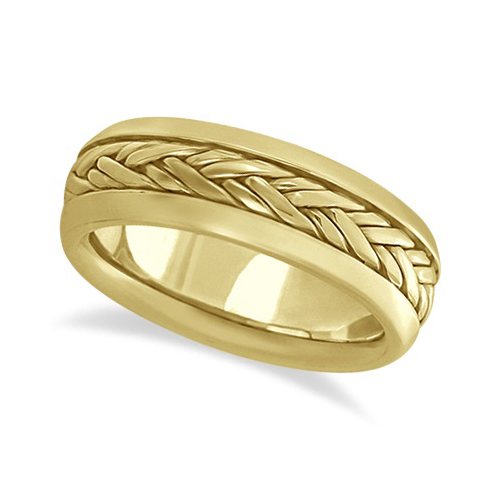 Men's Wide Handwoven Wedding Band 18k Yellow Gold (6mm)