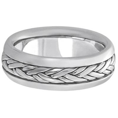 Men's Wide Handwoven Wedding Ring Band Palladium (6mm)