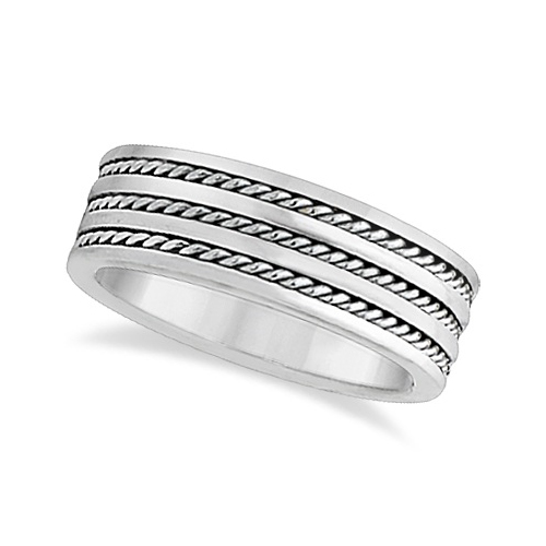 Mens Wide Flat Handmade Rope Wedding Ring 18k White Gold (8mm)