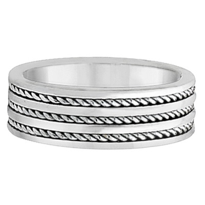 Men's Wide Flat Handmade Rope Wedding Ring Palladium (8mm)