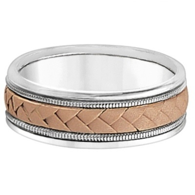 Men's Wide Braided Handwoven Rope Wedding Ring 18k Two-Tone Gold (8mm)