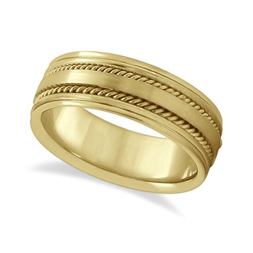 Handmade Rope Wedding Ring For Men 14k Yellow Gold (7.5mm)