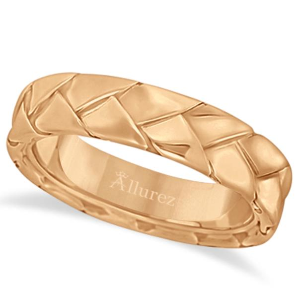 Men's High Polish Braided Handwoven Wedding Ring 14k Rose Gold (7mm)
