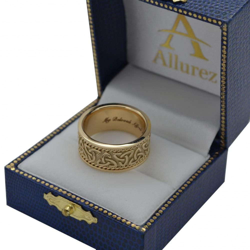 Men's Hand Made Celtic Irish Wedding Ring 14k Yellow Gold (10mm)
