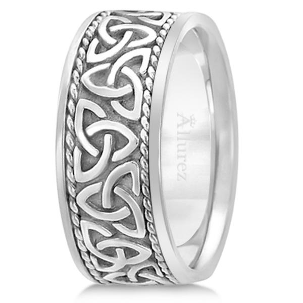 Mens Hand Made Celtic Irish Wedding Band 18k White Gold 10mm
