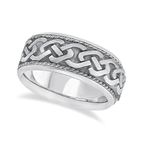 Men's Vintage Hand Made Celtic Irish Wedding Ring 18k White Gold (9.5mm)