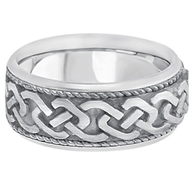 Men's Vintage Hand Made Celtic Irish Rope Wedding Ring Palladium (9.5mm)