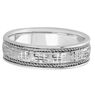 Men's Wide Handmade Vintage Carved Wedding Band Palladium (6mm)