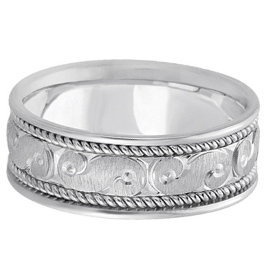 Men's Fancy Hand Made Carved Wedding Ring Band 14k White Gold (8mm)