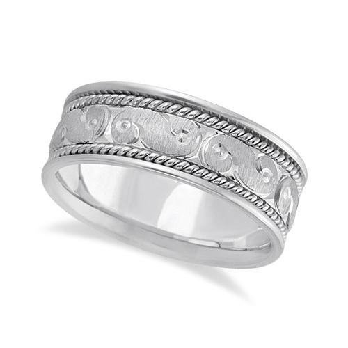 Men's Fancy Hand Made Carved Wedding Ring Band Palladium (8mm)