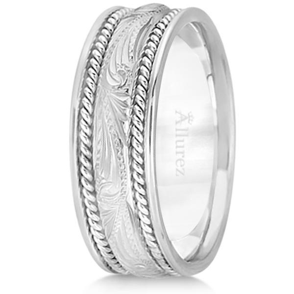 Fancy Carved Vintage Wedding Ring For Men 14k White Gold (7.5mm)
