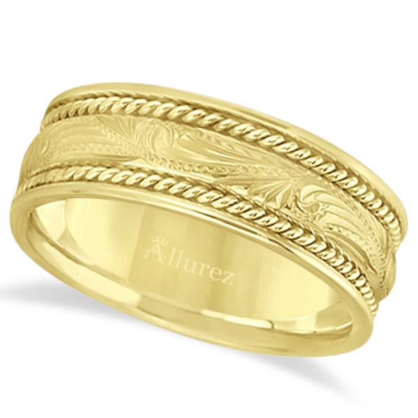 Fancy Carved Vintage Wedding Ring For Men 14k Yellow Gold (7.5mm)