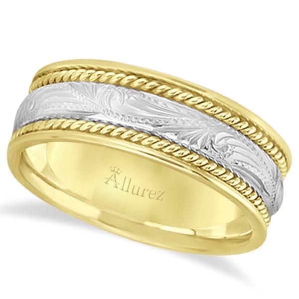 Fancy carved vintage wedding ring for men 18k two tone for Mens vintage wedding ring