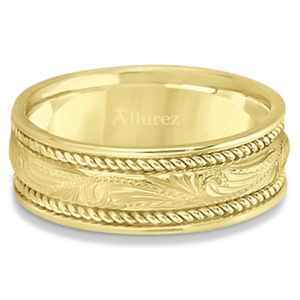 Fancy Carved Vintage Wedding Ring For Men 18k Yellow Gold (7.5mm)