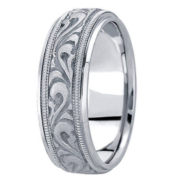 Antique Style Handmade Wedding Band in 14k White Gold (7.5mm)
