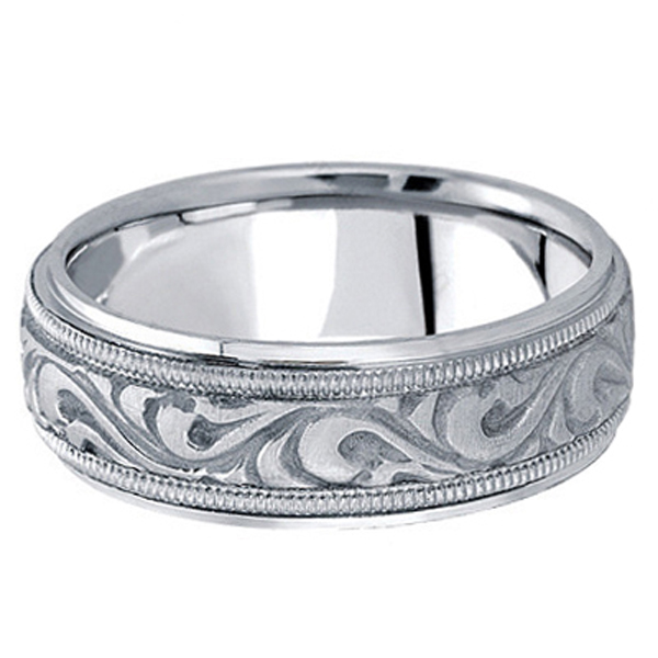 Antique Style Handmade Wedding Band in 18k White Gold (7.5mm)