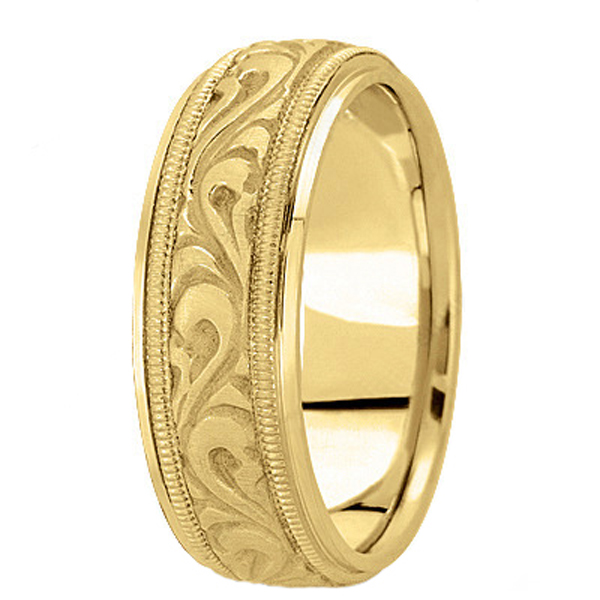 Antique Style Handmade Wedding Band in 18k Yellow Gold (7.5mm)