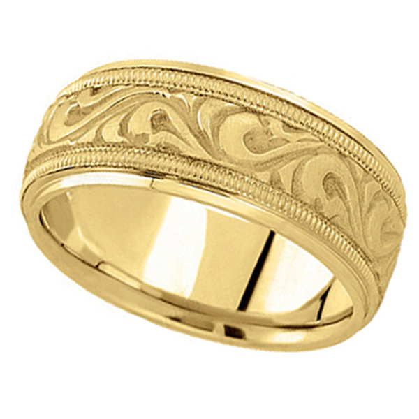 Antique Style Hand Made Wedding Band in 14k Yellow Gold (9.5mm)