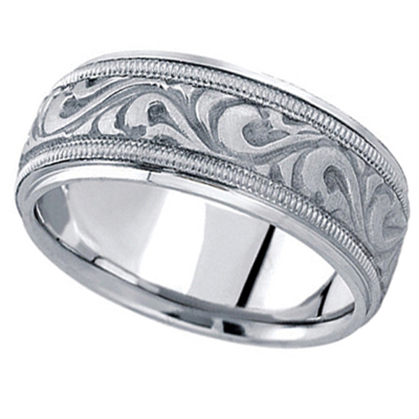 Antique Style Hand Made Wedding Band in 18k White Gold (9.5mm)