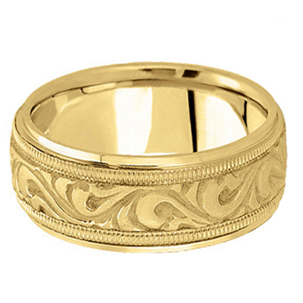 Antique Style Hand Made Wedding Band in 18k Yellow Gold (9.5mm)