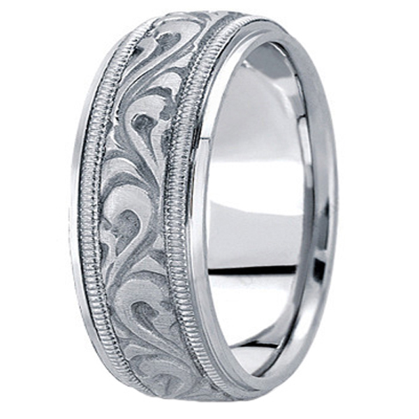 Antique Style Hand Made Wedding Band in Platinum (9.5mm)