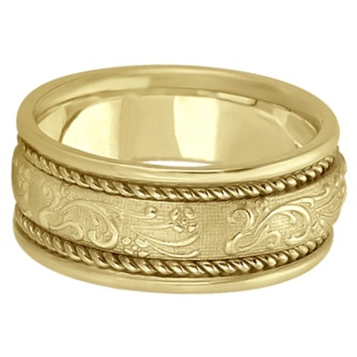 Men's Fancy Satin Finish Carved Wedding Ring 14k Yellow Gold (8.5mm)