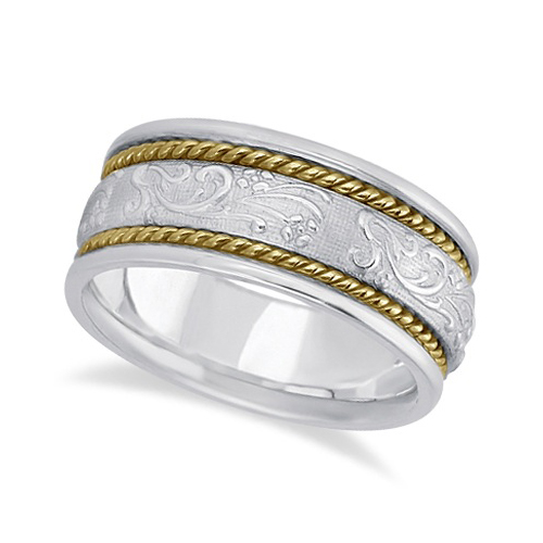 Men's Fancy Satin Finish Carved Wedding Band 18k Two-Tone Gold (8.5mm)