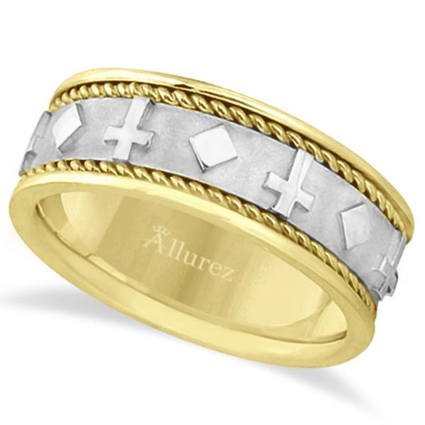 Handmade Wedding Band With Crosses in 14k Two-Tone Gold (8.5mm)