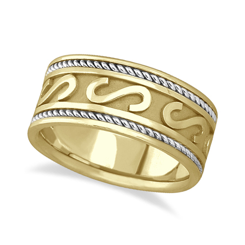 mens celtic irish handmade wedding ring 14k two tone gold 10mm. Black Bedroom Furniture Sets. Home Design Ideas