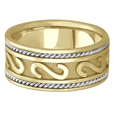 Mens Celtic Irish Handmade Wedding Ring 14k Two-Tone Gold (10mm)