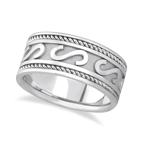 Mens Celtic Irish Hand Made Wedding Ring 14k White Gold 10mm