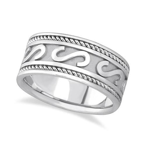 Men's Celtic Irish Hand Made Wedding Ring 14k White Gold (10mm)