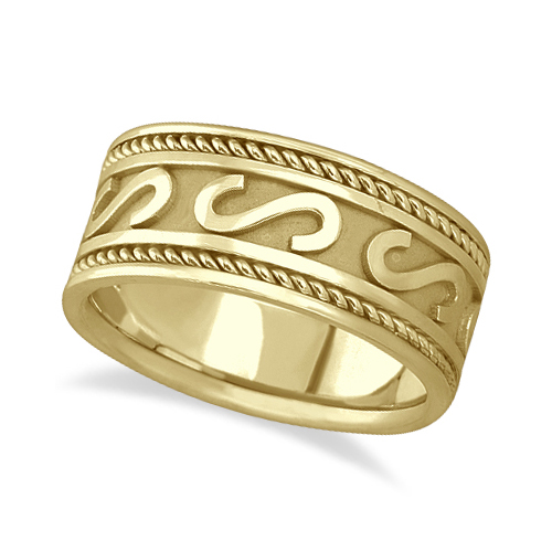 Men's Celtic Irish Hand Made Wedding Ring 14k Yellow Gold (10mm)