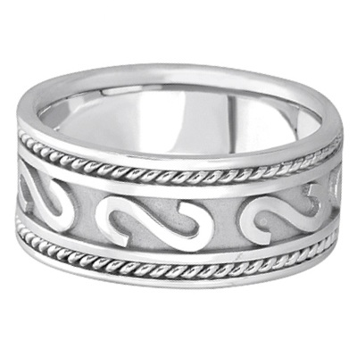 Men's Celtic Irish Hand Made Wedding Band 18k White Gold (10mm)