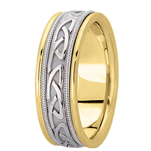 Hand Made Celtic Wedding Band in 14k Two Tone Gold (6mm)