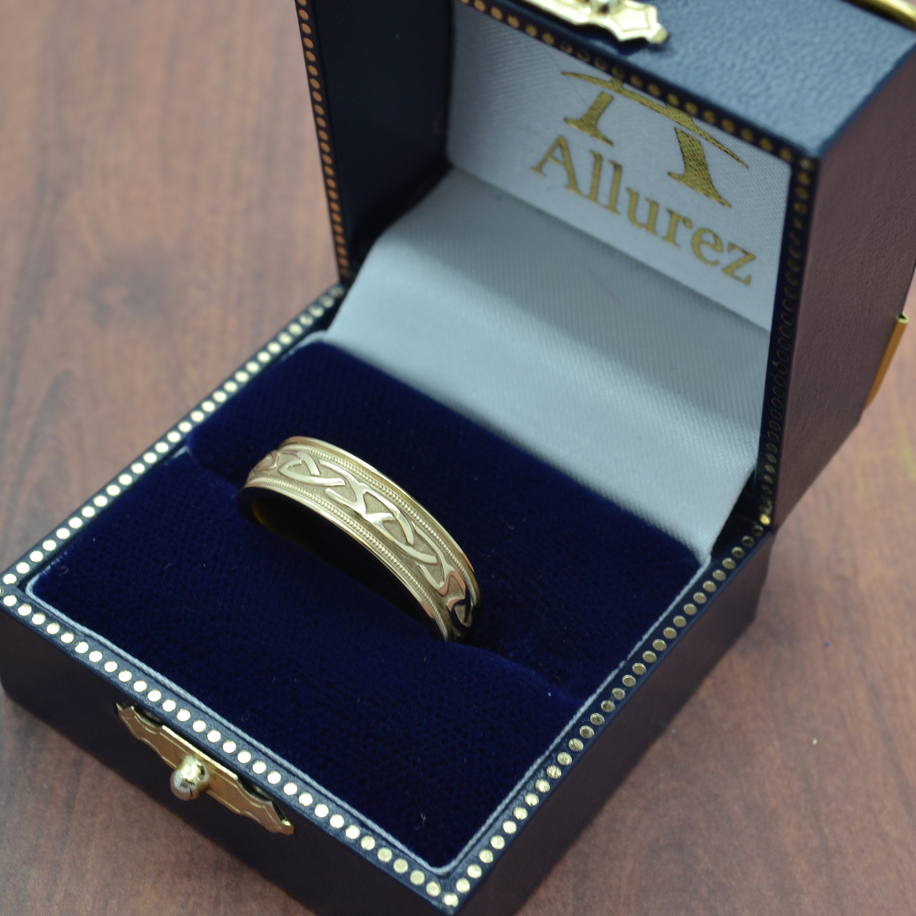 Hand Made Celtic Wedding Band in 14k Yellow Gold (6mm)