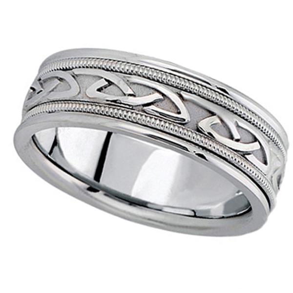 Hand Made Celtic Wedding Band in 18k White Gold (6mm)