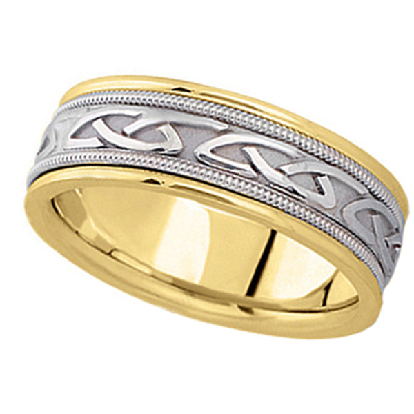 Hand Made Celtic Wedding Band in 18k Two Tone Gold (6mm)