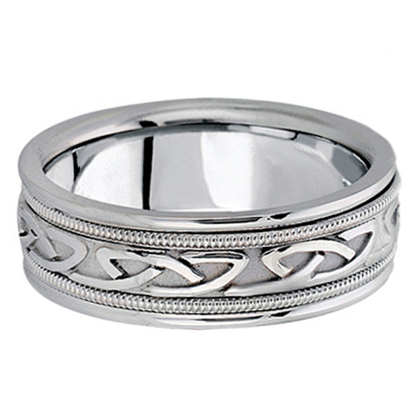 Hand Made Celtic Wedding Ring Band in Palladium (6mm)