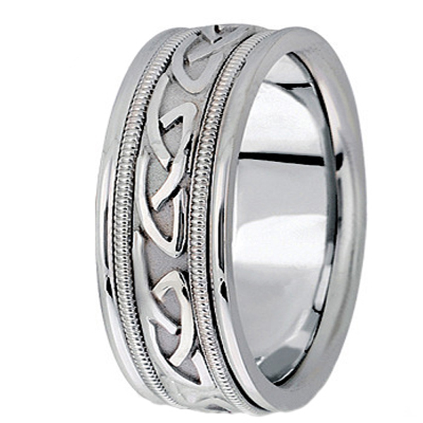 Hand Made Celtic Wedding Band in 14k White Gold (8mm)