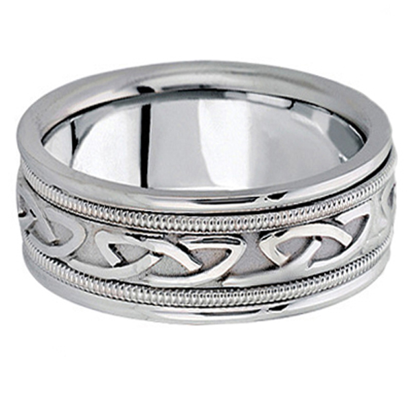 Hand Made Celtic Wedding Band in 18k White Gold (8mm)