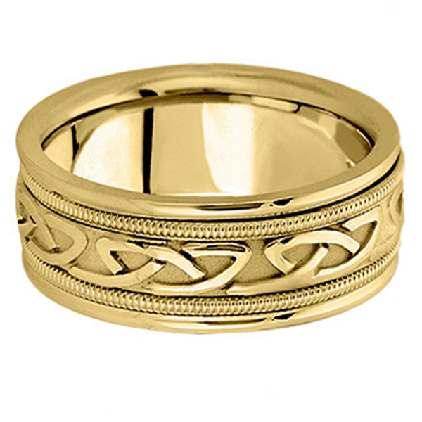 Hand Made Celtic Wedding Band in 18k Yellow Gold (8mm)