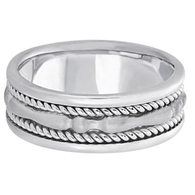 Men's Carved Handmade Wedding Ring Band in 18k White Gold (8mm)
