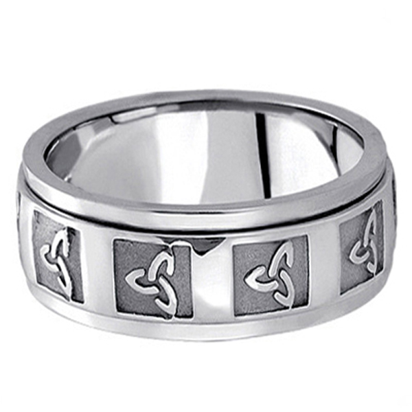 Hand Made Celtic Wedding Band in 14k White Gold (10mm)